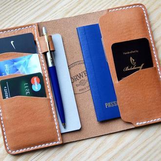 Кожаный органайзер для блокнота, паспорта, кредитных и визитных карт с петлей для ручки.
