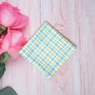 Нагрудний платок или платок паше голубой в клетку