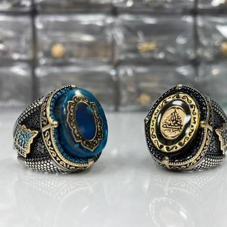 Дорогой перстень с кристальной ювелирной эмалью с мини камнями ручной работы Серебро