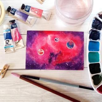 Акварельная картина Галактика розового кролика.