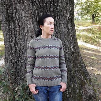Вязаный свитер с жаккардовым узором