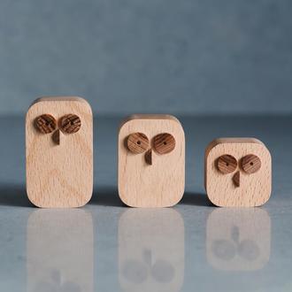 Совы, комплект из 3-х штук, дерево бук