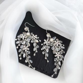 Свадебные серьги, объемные серьги, сережки для невесты