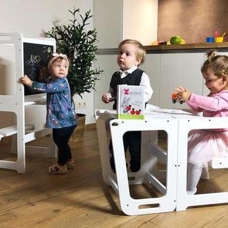 Детский столик трансформер c вертикальной меловой доской 2 в 1 - Башня маленького помощника