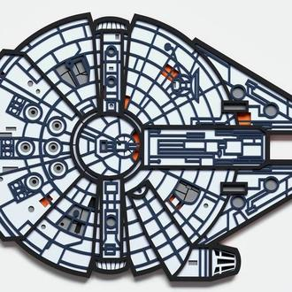 Картина из дерева | Star Wars |Millennium Falcon Mandala