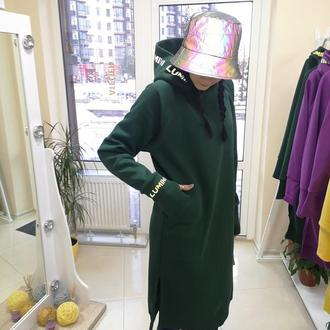 Тёплое платье-худи со светоотражающим принтом Lumini