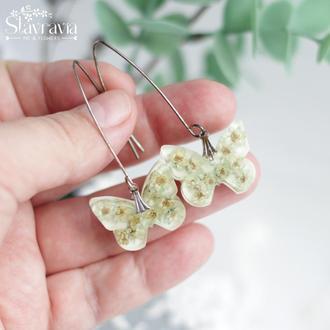 Серьги бабочки с мятными сухими цветами на белом фоне • серьги бабочки с цветами в смоле