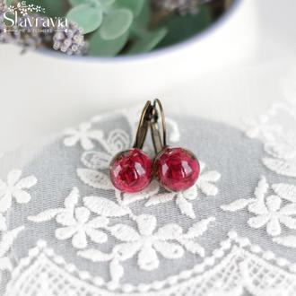Серьги шарики с красными розами в эпоксидной смоле
