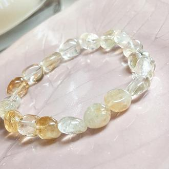 Браслет из натуральных камней, браслет из цитрина, браслет оберег, подарок для нее