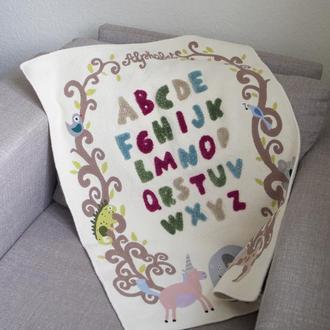 Детский коврик с обьемным алфавитом (ковровая вышивка)