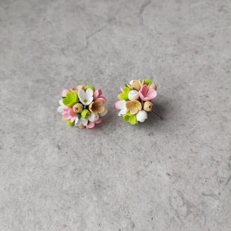 Мини серьги Весенние цветочки