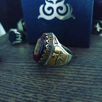 Перстень серебряный на всю фалангу большой камень Янтарь / микрокамни ручной работы стиль дизайн