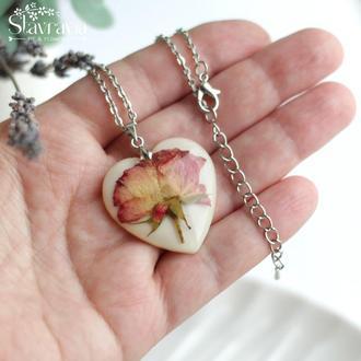 Кулон сердце с цветами • подарок на день влюбленных • кулон сердце день влюбленных