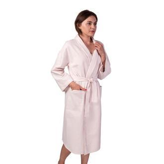 Вафельный халат Luxyart Кимоно размер (42-44) S 100% хлопок пудра