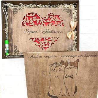 Фотоальбом из дерева с индивидуальными надписями