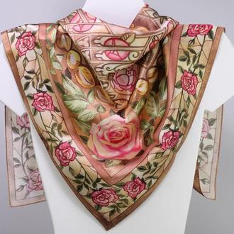 Большой шелковый платок бежевого цвета с розами, Женский аксессуар, Шелковый платок с цветами
