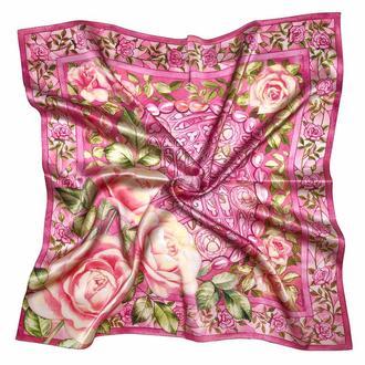 Шейный шелковый платок розового цвета с розами, Шелковый платок с цветами