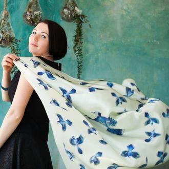 Шелковый платок цвета слоновой кости, Женский шарф, Шелковый платок с птицами, Атласный шелк