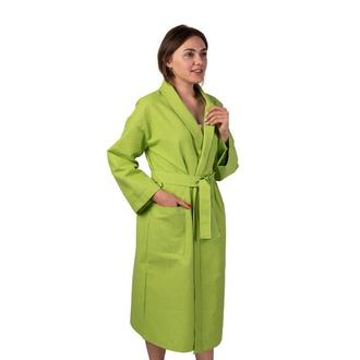 Вафельный халат Luxyart Кимоно размер (46-48) М 100% хлопок олива
