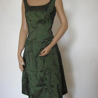 Вечернее зеленое миди платье на свадьбу или выпускной большого размера длиной ниже колена