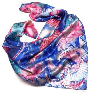 Романтичный синий шейный шелковый платок с лотосами и рыбами Кои