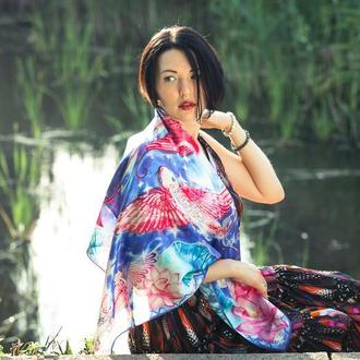 Романтичный синий шелковый платок с лотосами и рыбами Кои