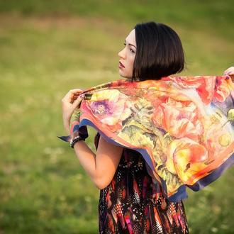 Платок с маками у моря из натурального шелка для женщин