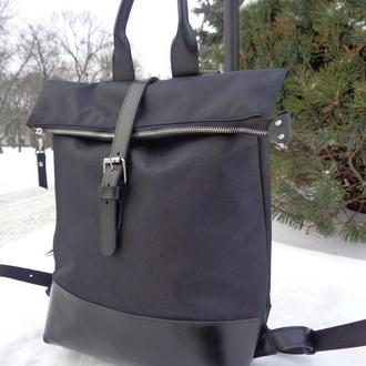 Рюкзак из плотной, водонепроницаемой ткани и натуральной кожи