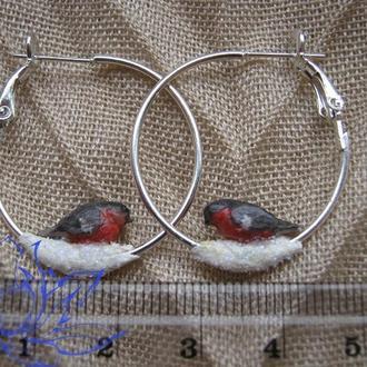 Серьги-кольца с птичками-2, лепка, холодный фарфор, глина