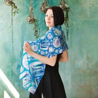 Голубой женский шарф с бриллиантами из шерсти, роскошный подарок