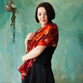 Роскошный красный женский шарф с рубинами из 100% тонкой шерсти