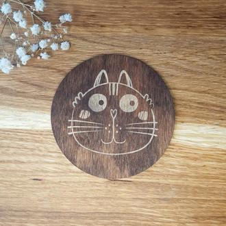 Набор деревянных подставок под горячее для чашек и стаканов с котиками