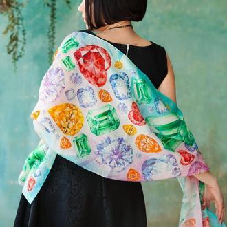 Нежный женский шарф с драгоценными камнями из 100% тонкой шерсти