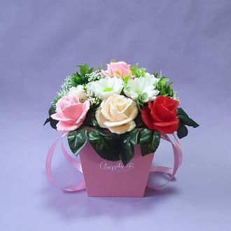 Букет из мыла. Ароматическая композиция розы и ромашки.