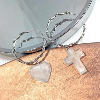 Серьги кольца с подвесками из горного хрусталя Вelle Вagatelle