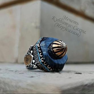 Перстень мини храм мечеть Куббатус-Сахра из Иерусалима Серебро925 пробы ручной работы с камнем Янтар