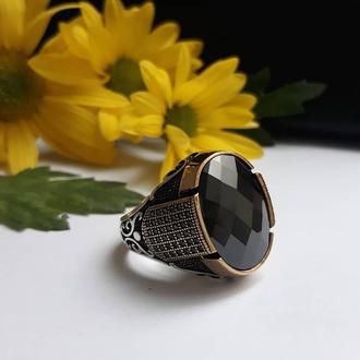 Мужское кольцо перстень  из серебра с мини камнями Работа ювелирная от дизайнера
