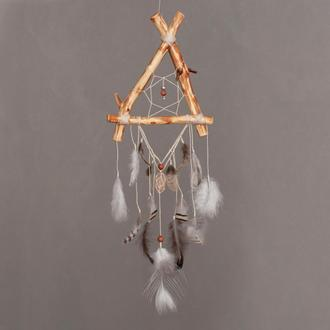 Нежный ловец снов с натуральным камнем, Подарок девушке, Природные украшения для спальни, Оберег