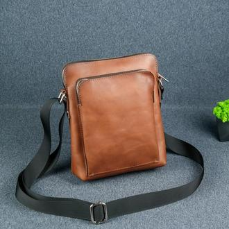 """Кожаная мужская сумка """"Модель №88"""", итальянский краст, цвет коричневый"""