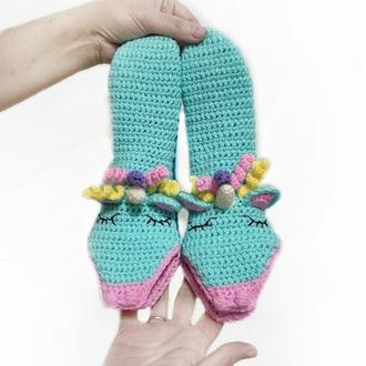 Детские вязаные носки-единороги р.р. 28-32