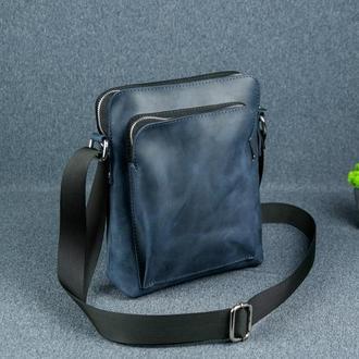 """Мужская сумка """"Модель №88"""", матовая кожа Crazy Horse, цвет синий"""