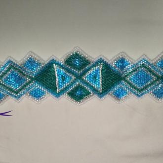 Голубой браслет в этно стиле