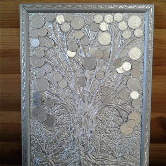 Картина денежное дерево из монет серебристая