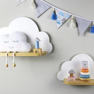 Детская полочка Облако, полочка в детскую, полочка для игрушек, декор для детской