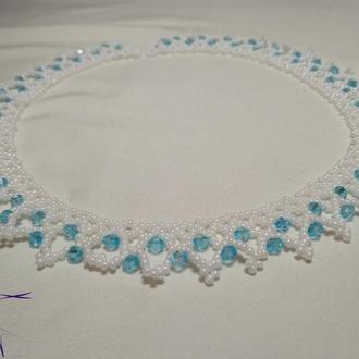 """Свадебное колье """"Гортензия"""" в белом и голубом цвете."""