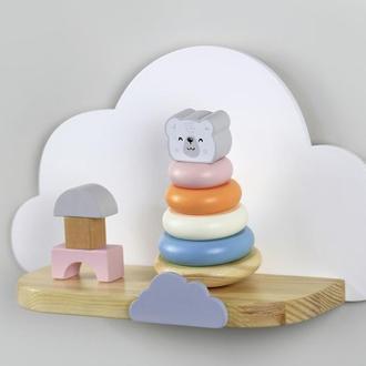 Полочка Тучка, Облачко, полка для игрушек, полочка декор для детской