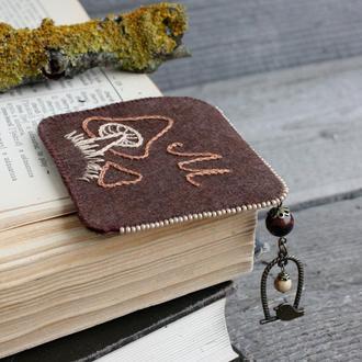 Оригинальная закладка для книг грибы Книжная закладка на угол Именной подарок к 8 марта для грибника
