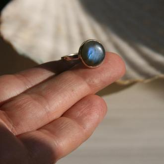 Серебряное кольцо с лабрадоритом, кольцо с лабрадором, подарок