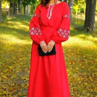 Розкішна червона сукня з вишивкою для вечірнього виходу