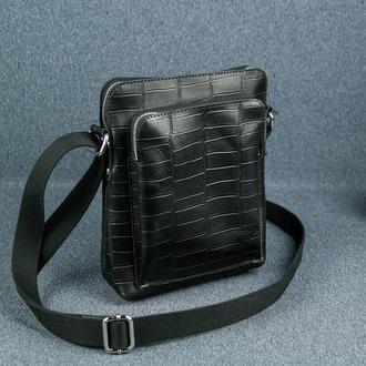 """Кожаная мужская сумка """"Модель №88"""", итальянский краст, оттиск №2, цвет черный"""